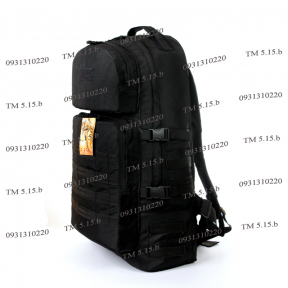 Тактический армейский супер-крепкий рюкзак 60 литров Черный, TM 5.15.b