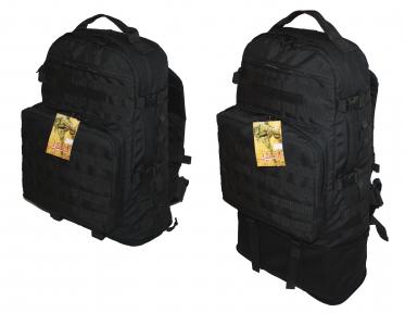 Тактический туристический супер-крепкий рюкзак трансформер 45-65 литров чёрный Кордура POLY 900 ден 5.15.b