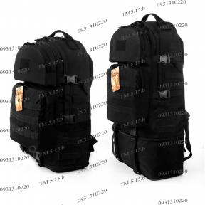 Тактический армейский супер-крепкий рюкзак трансформер 40-60 литров Черный, Poly 900 ден. TM 5.15.b